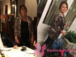 Siyah İnci kıyafetleri 5. bölüm Canan desenli saten kimono Setre markadır