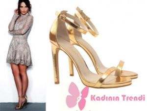 Ufak Tefek CinayetlerTülin Özen – ArzuKıyafetleri Arzu karakteri altın rengi topuklu ayakkabı markasıJabotter Shoes