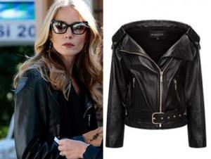 Ufak Tefek Cinayetler kıyafetleri Pelin siyah deri ceket Selma Çilek. Pelin güneş gözlüğü Turkuaz Optik