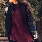 Çukur Dizi Kıyafetleri 6. Bölüm Sena bordo kazak siyah mini etek