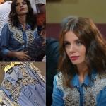 Şevkat Yerimdar Dizisinde Esin karakterinin giydiği ön kısmı işlemeli kot gömlek Drape Butik ten