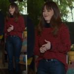 Dolunay Nazlı kırmızı siyah çizgili kazak siyah pantolon Nazlı siyah çizmeler