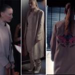 Duru arkası kelebek desenli krem rengi kaban Palto'i Duru Taba Çanta Giorgio Armani. Duru beyaz çizme Nine West.