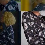 Meryem 9. bölümde Derin'in giydiği çiçek ve kuş desenli siyah gri bluz hangi marka? : Adil Işık marka
