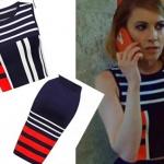 Meryem dizi Derin Lacivert kırmızı beyaz çizgili etek kolsuz bluz takımı Forever New marka