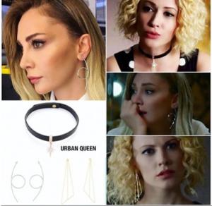 Meryem dizisinde Derin'in Cuker Tasma kolyesi ve üçgen küpesi tülin küpe markası Urban Queen