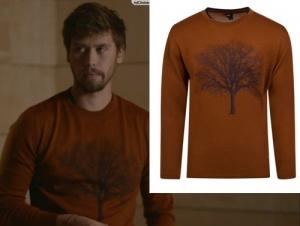 Meryem kıyafetleri Berk turuncu ağaç desenli kazağı Daman Tween marka