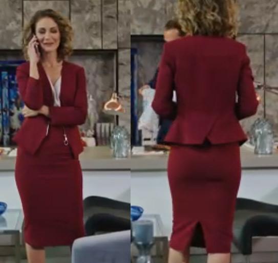 Siyah Beyaz aşk dizisinde İdil karakterinin bordo ceket etek takım markası araştırılıyor