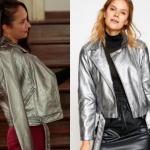 Ufak Tefek Cinayetler Burcu Kıyafetleri Burcu gümüş rengi ceket markası Koton