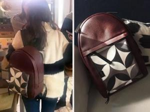 Dolunay dizisi son bölümde Nazlının kullandığı kahve rengi desenli sırt çantası Allee marka
