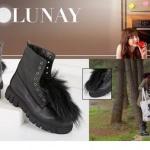 Dolunay dizisinde Nazlı'nın ormanda giydiği peluş detaylı siyah bot İlvi marka