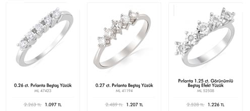 Emel Diamont 5 taş Pırlanta yüzük modelleri ve fiyatları