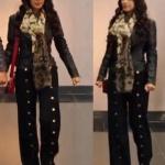 Fazilet Hanım ve Kızları Hazan siyah metal düğmeli pantolon
