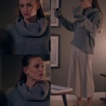 Fi 2. Sezon Kıyafetleri 3. Bölüm Duru Gri Uzun Kollu Kazak nereden Duru gri triko kazak ve yanları gri şeritli krem rengi geniş paçalı Pantolon Yargıcı marka.