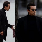 Ferhat siyah palto markası Hatemoğlu Ferhat siyah kazak markası Pierre Cardin Ferhat yuvarlak cam gözlük markası Turkuaz Optik-HallyandSon