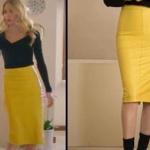 Ufak Tefek Cinayetler dizisinde Pelin'in giydiği sarı deri eteğin markasıThe Ruf.