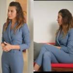 Ufak Tefek Cinayetler gökçe bahadırın giydiği mavi ceket pantolon görüntülü tulumun markası Rue