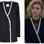 Dolunay Kıyafetleri Final Demet'in yakası beyaz şeritli siyah ceketinin markası Simone and So. Demet siyah transparan bluz Bershka.