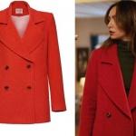Siyah Beyaz Aşk Dizisinde Aslı / Birce Akalay'ın giydiği kırmızı düğmeli kaban markası Mudo