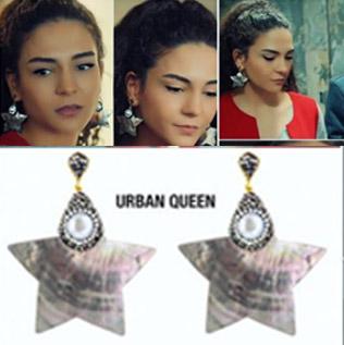 İstanbullu Gelin Burcu kıyafetleri Burcu'nun İstanbullu Gelin Son bölümde taktığı yıldız küpeler Urban Quuen marka.