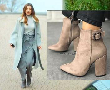 Ufak Tefek Cinayetler kıyafetleri 13. Bölüm Oya topuklu gri ayakkabılar I Loves Shoes marka