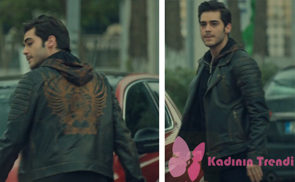 İstanbullu Gelinde muratın giydiği sırtı desenli siyah deri ceket Desa marka