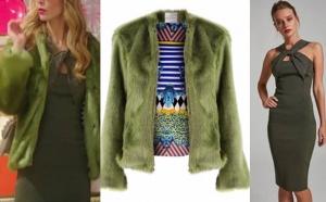 Ufak Tefek Cinayetler Bade İŞçil Pelin yeşil elbise ADL. Pelin Yeşil kürk Ece Derya marka.