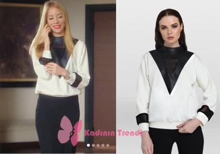 Ufak Tefek Cinayetler dizisinde Pelin karakterini canlandıran Bade İşçil beyaz deri ve file detaylı sweatshirtü Tara Coşkun Tuncel marka.
