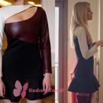 Ufak Tefek Cinayetler dizisinin dün akşamki bölümünde Bade İşçil'in canlandırdığı Pelin karakteri bordo krem deri detaylı elbisesi Tara Coşkun Tuncel markadır