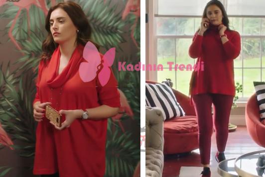Ufak Tefek Cinayetler son bölümde Mervenin giydiği kırmızı bluz kırmızı pantolon ve spor ayakkabı kombini