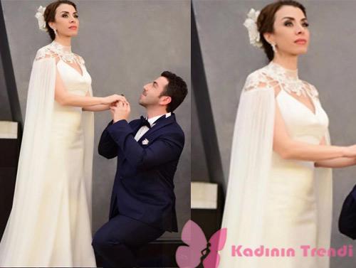 İstanbullu Gelin dizisinde Süreyya'nın teyzesi senemin giydiği gelinlik Akay Bridal marka.