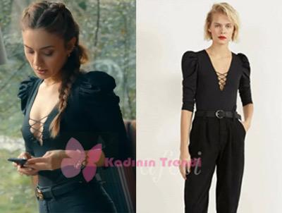 Çukur-Dizi-Kıyafetleri-91 bölüm Efsun önü dekolteli siyah bluz hangi marka