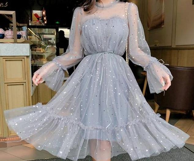 2020-Kore-Tarzı Elbise kombinleri şifon tütülü elbise modelleri-3.jpg