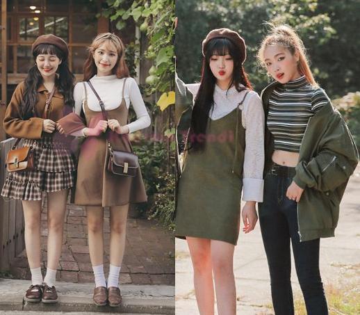 2020 Kore Tarzı ve Tişört Üzerine Giyilen Elbiseler. kiremit rengi elbise ve şort tulum kombinleri. elbise kombini harika. bunları size göstermeden edemedik.