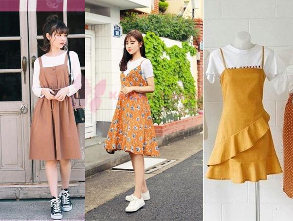 2020 Kore Tarzı ve Tişört Üzerine Giyilen Elbiseler