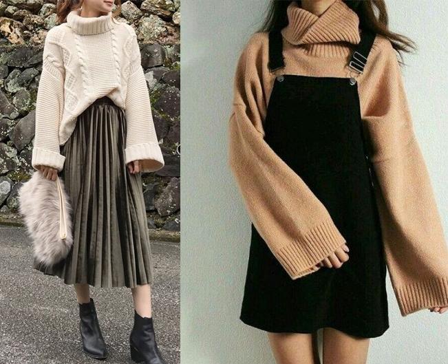 işte size bahar aylarında severek her yerde giyebileceğiniz şık Kore tarzı triko kombinleri.