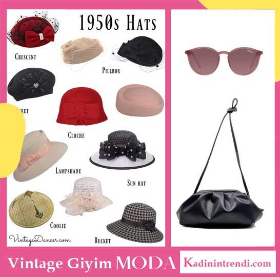 Vintage giyim tarzı aksesuarları. Vintage şapka, vitage gözlük ve vintage çanta