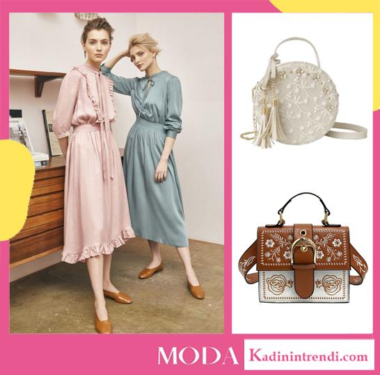 Vintage çanta ve vintage elbise kombini
