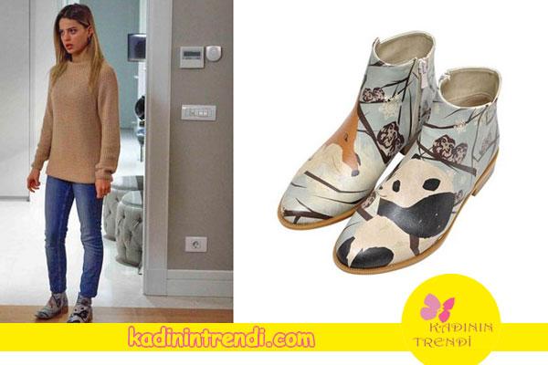 Paramparça Cansu'nun giydiği desenli botların markası Dogostore.